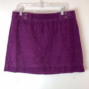LOFT   Purple Corduroy Mini Skirt Size 12